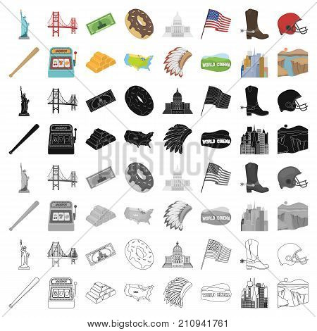 USA country set icons in cartoon design. Big collection of USA country vector symbol stock illustration