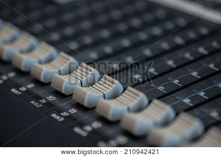 Analogic Sound Mixer. Professional audio mixing console radio and TV broadcasting.