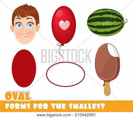 Forms For The Smallest. Oval And Objects Having A Oval Shape On A White Background Developing Game