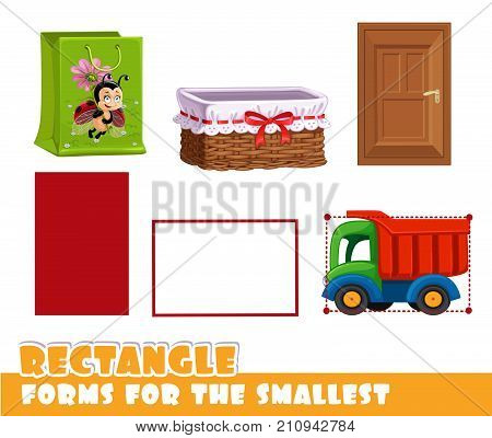 Forms For The Smallest. Rectangle And Objects Having A Vertical And Horizontal Rectangle Shape On A