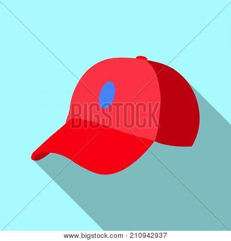Red baseball cap icon. Flat illustration of red baseball cap vector icon for web on blue background EPS