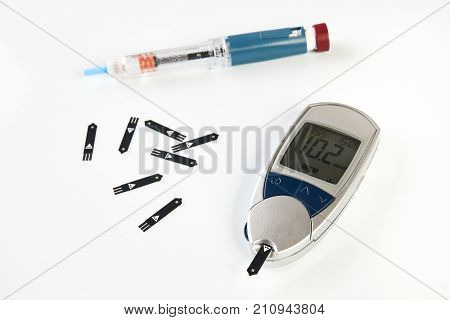 Diabetes Equipment, Insulin Pen And Glucose Level Blood Test