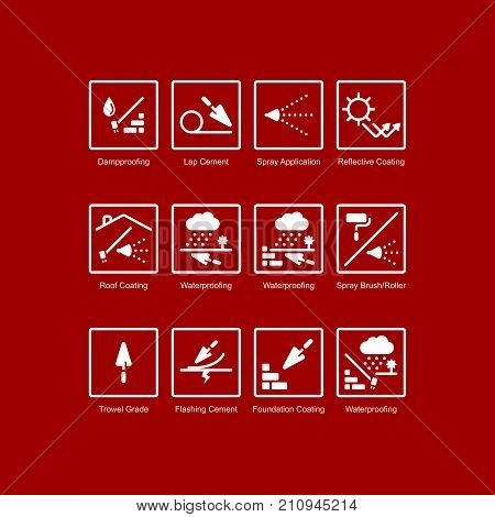 Waterproofing elements. Simple set of vector line icons. Construction material. Weatherproofing, waterproof, roofing, masonry, brick laying, paint, sealing.