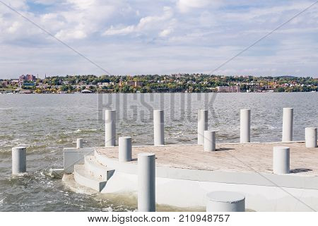 Waterfront park in Beacon New York with a vew of Beacon across the Hudson River.