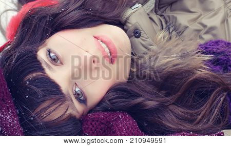Winter Portrait Of A Young Woman. Beauty Joyous Model Girl