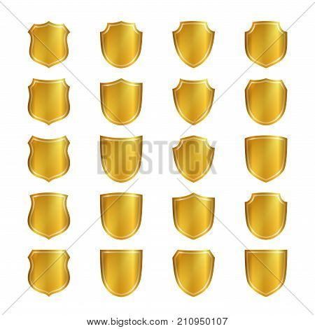 Shield Gold Icons Set Shape Emblem