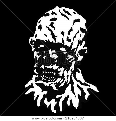 Angry ghoul vampire head with a torn face. Vector illustration. Scary monster character. The genre of horror.