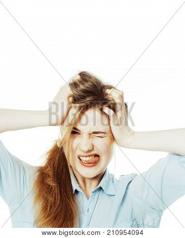 cute young woman making cheerful faces on white background, messed hair isolated close up