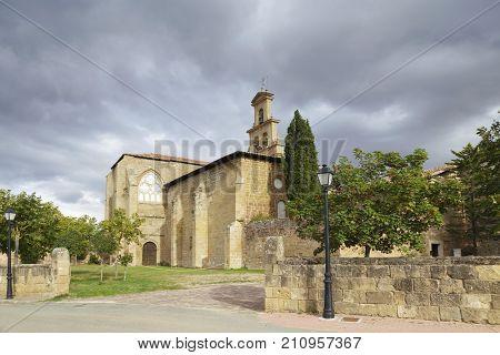 Entrance of the 12th century Cistercian monastery of Saint Mary in Cañas La Rioja Spain.