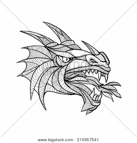 Zentagle inspired and tangled mandala illustration of head of a mythical creature beast or dragon viewed from the side in black and white on isolated backgound.