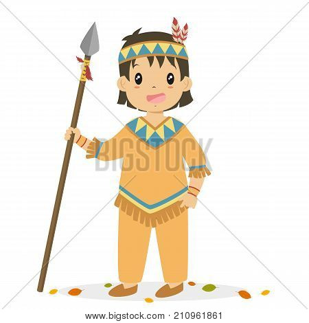 Native American boy holding a hunting spear. Thanksgiving Native American boy character cartoon vector.