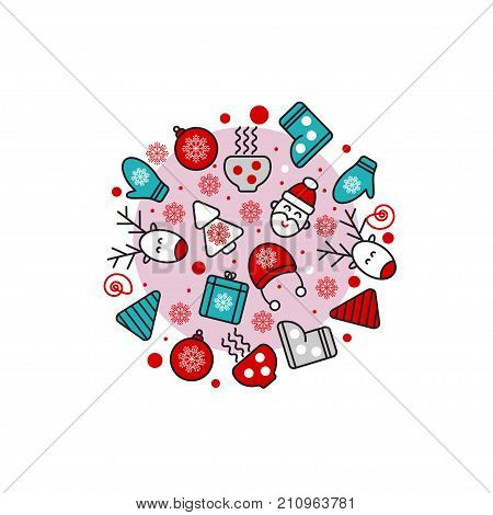 Set of Christmas elements form of circle - deer, Santa, gift, snowflake, candy, ball. Stock vector