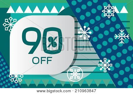 Geometric banner of Christmas sale. Geometry discount flyer with snowflakes. Hipster abstract background in style of Memphis. Stock vector