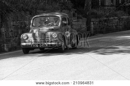 GOLA DEL FURLO, ITALY - MAY 19: RENAULT 4CV 1957 on an old racing car in rally Mille Miglia 2017 the famous italian historical race (1927-1957) on May 19 2017