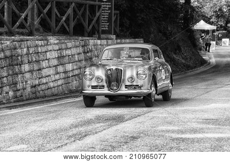 GOLA DEL FURLO, ITALY - MAY 19: LANCIA AURELIA B20 GT 2500 IV SERIE 1955 on an old racing car in rally Mille Miglia 2017 the famous italian historical race (1927-1957) on May 19 2017