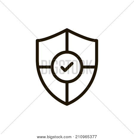 Shield flat icon. Single high quality outline symbol of security for web design or mobile app. Thin line signs of protection for design logo, visit card, etc. Outline pictogram of safety
