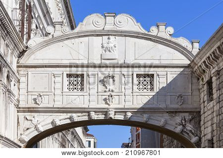Bridge of Sighs (Ponte dei Sospiri) Venice Italy. Bridge was built in in the 17th century it connects the New Prison (Prigioni Nuove) with Doge's Palace
