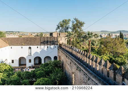 Cordoba, Spain - April 11, 2017: Castle of the Christian Kings Alcazar de los Reyes Cristianos, it is a medieval fortress located in the historic centre of Cordoba, next to the Guadalquivir River and near the Grand Mosque.