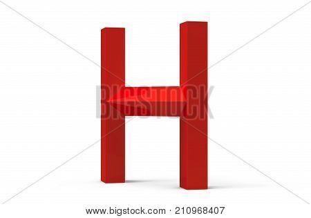 3D Render Red Beveled Alphabet H