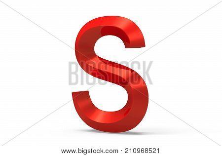 3D Render Red Beveled Alphabet S
