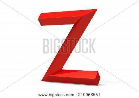 3D Render Red Beveled Alphabet Z
