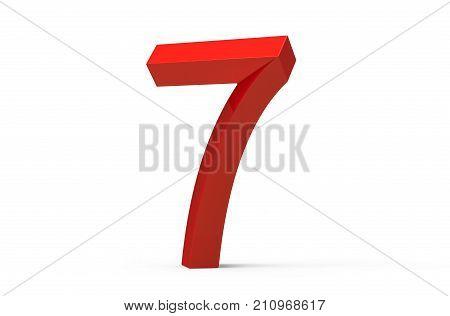 3D Render Red Beveled Number 7