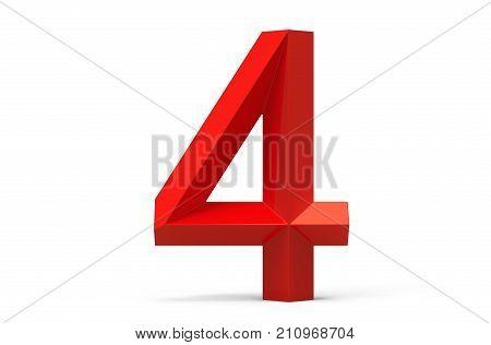 3D Render Red Beveled Number 4