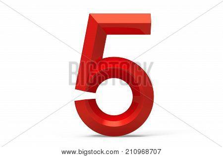 3D Render Red Beveled Number 5