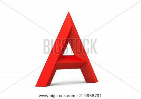 3D Render Red Beveled Alphabet A