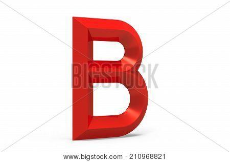 3D Render Red Beveled Alphabet B