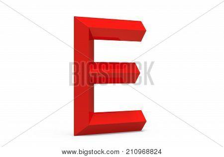 3D Render Red Beveled Alphabet E