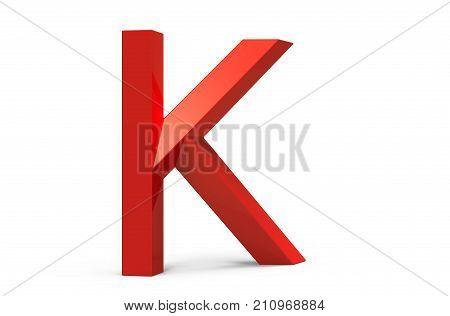 3D Render Red Beveled Alphabet K