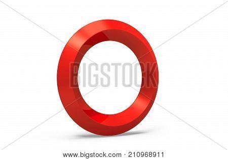 3D Render Red Beveled Alphabet O