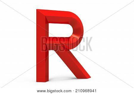 3D Render Red Beveled Alphabet R
