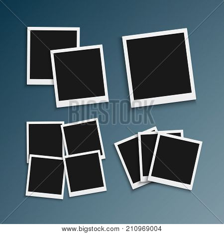 Illustration of Vector Photo Frame. Realistic Snapshot Modern Photo. Instant Album Photoframe Paper Picture