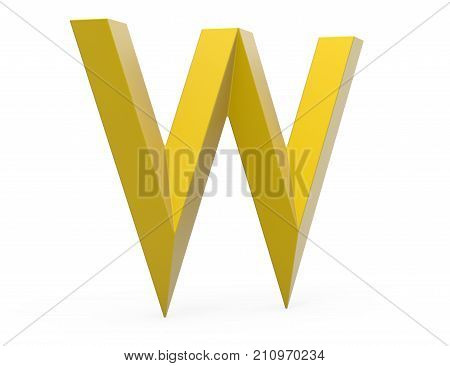 3D Render Golden Beveled Alphabet W