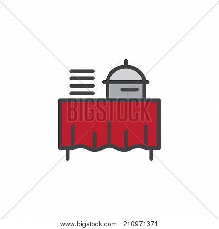 Setout filled outline icon, line vector sign, linear colorful pictogram isolated on white. Buffet self service restaurant symbol, logo illustration. Pixel perfect vector graphics