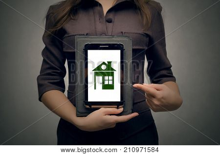 Real estate agent. Real estate agency. Insurance agent. Mortgage. Buy house. Realtor woman concept.