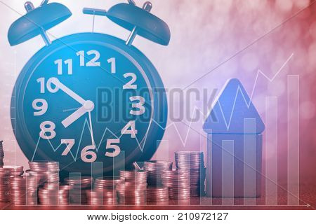 Double Exposure Of Model House Wood Form With Alarm Clock And Step Of Coins Stacks On Working Table