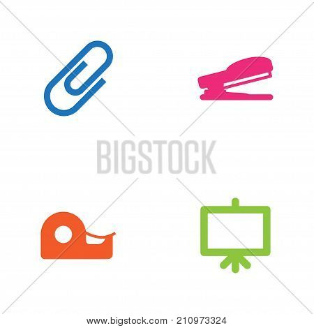 Collection Of Whiteboard, Puncher, Clip And Other Elements.  Set Of 4 Stationery Icons Set.