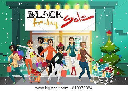 Young women coming out of the supermarket with shopping on the day of Black Friday sales. Сrowd of girls on the porch of a store with gifts. Cartoon style vector illustration