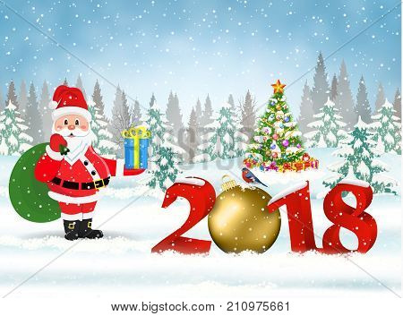 New year and Merry Christmas Winter background with Santa Claus with gift bag. 2018 with clock on nature background with Christmas tree