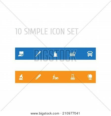 Collection Of Autobus, Pencil, Globe And Other Elements.  Set Of 10 Knowledge Icons Set.