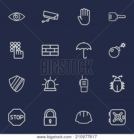 Collection Of Walkie-Talkie, Protection, Firewall And Other Elements.  Set Of 16 Procuring Outline Icons Set.