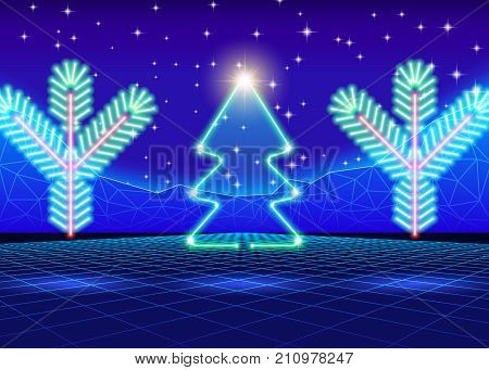 Christmas card with neon tree and 80s computer background