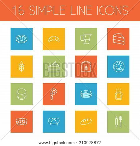 Collection Of Pretzel, Candy Cane, Pudding Elements.  Set Of 16 Bakery Outline Icons Set.