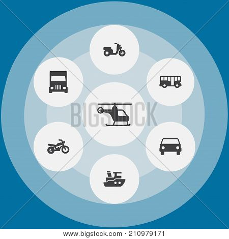 Collection Of Scooter, Boat, Autobus And Other Elements.  Set Of 7 Traffic Icons Set.
