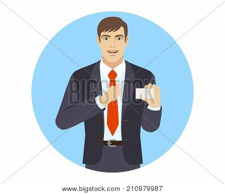 Businessman showing the business card and pointing at himself. Portrait of businessman character in a flat style. Vector illustration.