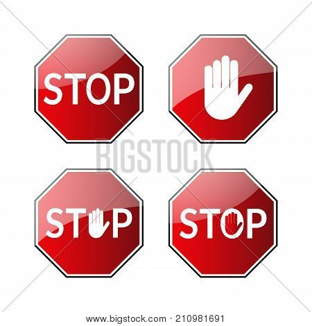 Stop Traffic Road Signs Set