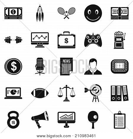 Sweepstake icons set. Simple set of 25 sweepstake vector icons for web isolated on white background